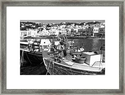 Boats In The Mykonos Harbor Mon Framed Print