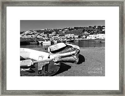 Boats In The Mykonos Old Port Mono Framed Print by John Rizzuto