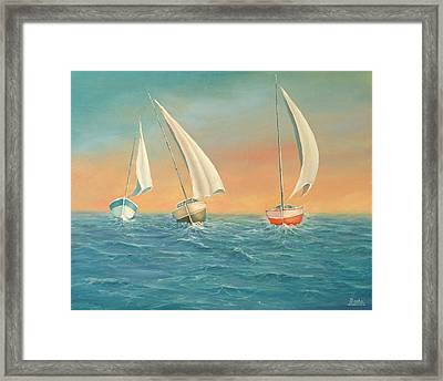 Boats In The Sea Framed Print by Radoslav Nedelchev