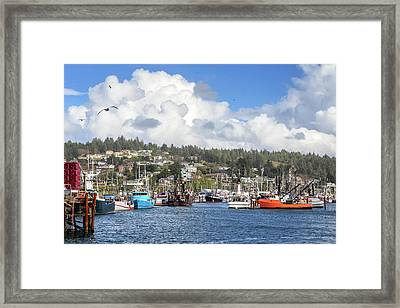 Boats In Yaquina Bay Framed Print