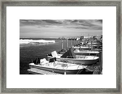 Boats Lined Up Infrared Framed Print