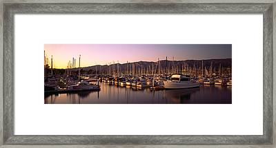 Boats Moored At A Harbor, Stearns Pier Framed Print by Panoramic Images