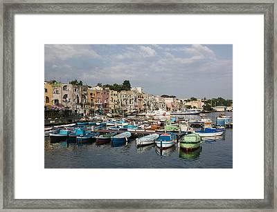 Boats Moored At A Port, Procida Framed Print
