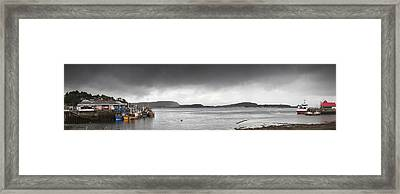 Boats Moored In The Harbor Oban Framed Print by John Short