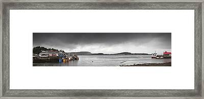 Boats Moored In The Harbor Oban Framed Print by John Short