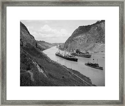 Boats Move Through Panama Canal Framed Print