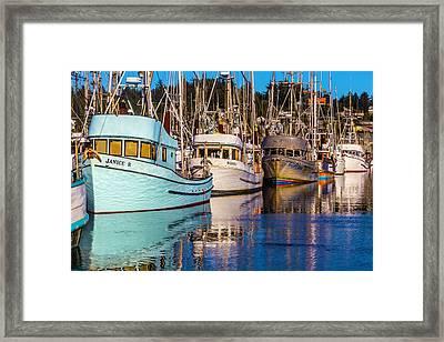 Boats Newport Harbor Framed Print by Garry Gay