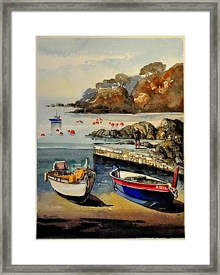 Boats Of Calella Spain Framed Print