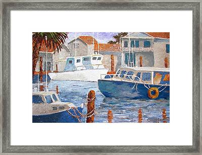 Framed Print featuring the painting Boats Of Tarpon Springs IIi by Tony Caviston