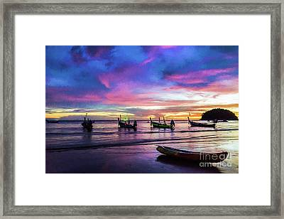Boats On A Colorful Sunset In Thailand Framed Print