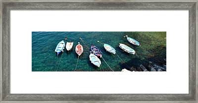 Boats On A Line Framed Print by Corinne Rhode