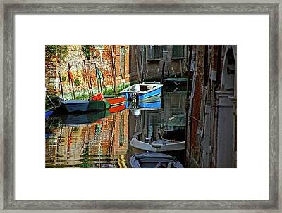 Boats On Canal In Venice Framed Print by Michael Henderson