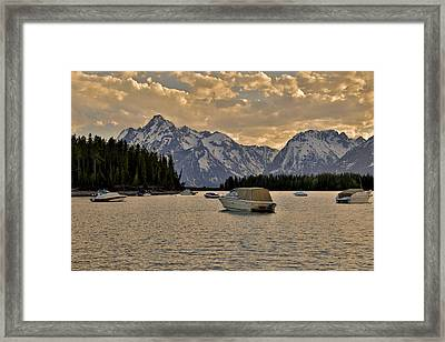 Boats On Jackson Lake At Sunset Framed Print