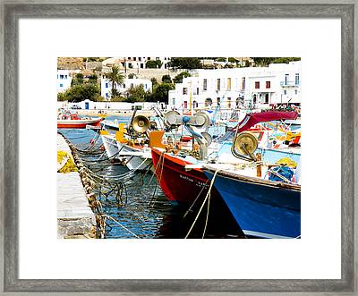 Boats On Parthos Framed Print