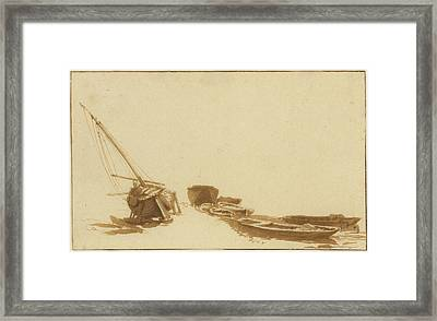 Boats On Shore And In Water Framed Print