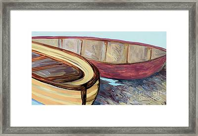 Boats On The Bank Framed Print