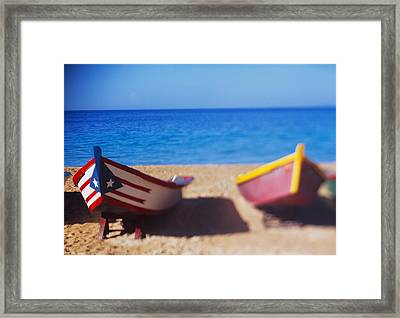Boats On The Beach, Aguadilla, Puerto Framed Print