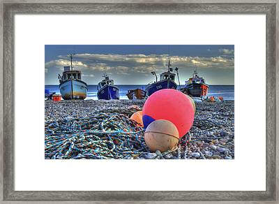 Boats On The Beach At Beer Framed Print