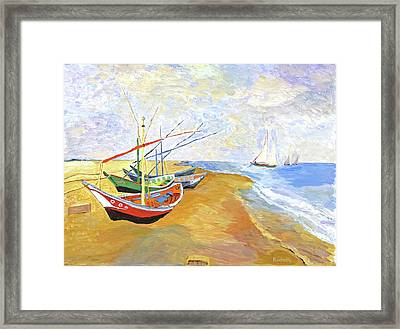 Framed Print featuring the painting Boats On The Beach At Saintes-maries After Van Gogh by Rodney Campbell