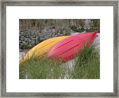Boats On The Beach In Ma Framed Print by Mary Pearson