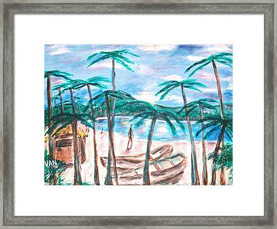 Boats On The Beach Framed Print by Van Winslow