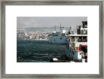 Boats On The Bosphorus Framed Print by John Rizzuto