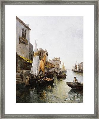 Boats On The Canal Framed Print