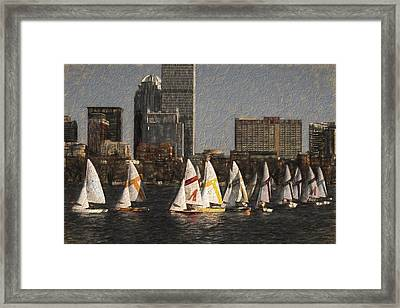 Boats On The Charles River Boston Ma Framed Print