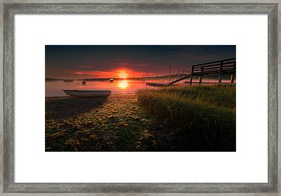 Boats On The Cove At Sunrise In The Fog Framed Print by Dapixara Art