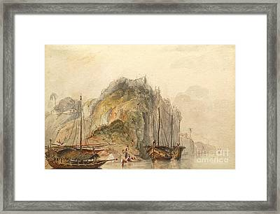 Boats On The Nile Near Carporne Framed Print