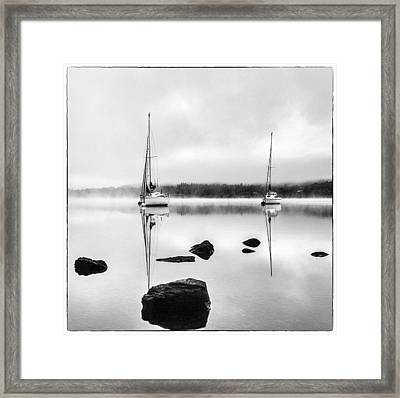 Boats On Ullswater In The Lake District Framed Print