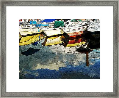 Framed Print featuring the photograph Boats Reflected - Poster     1st Place Award At Uconn Art Show  by Margie Avellino