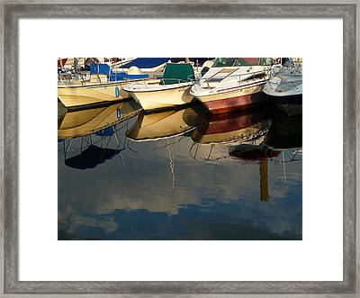 Framed Print featuring the photograph Boats Reflected by Margie Avellino