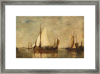 Boats Resting In Harbor Framed Print by Auguste Musin