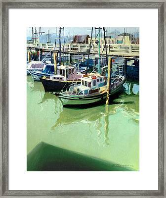 Framed Print featuring the painting Boats by Sergey Zhiboedov