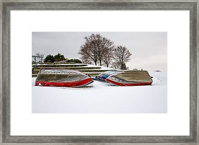 Boats Waiting On Spring Framed Print
