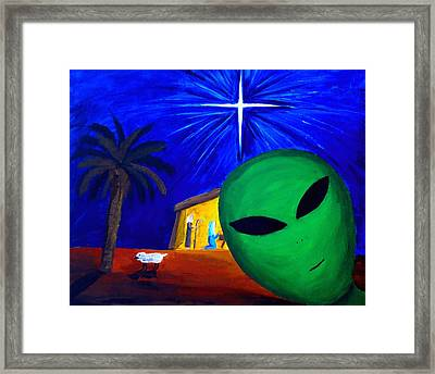 Bob At The Manger Framed Print by Lola Connelly