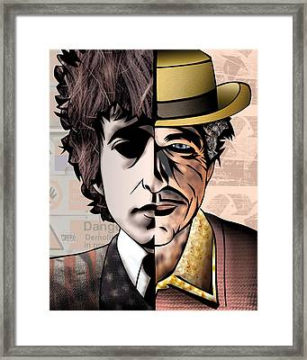 Bob Dylan - Man Vs. Myth Framed Print by Sam Kirk