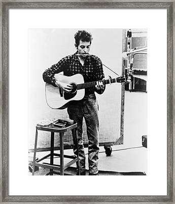 Bob Dylan B. 1941 Playing Guitar Framed Print