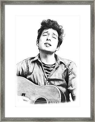 Bob Dylan Drawing Art Poster Framed Print by Kim Wang