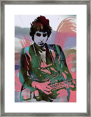 Bob Dylan Modern Etching Art Poster Framed Print