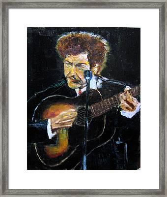 Bob Dylan Plays Guitar Framed Print by Udi Peled