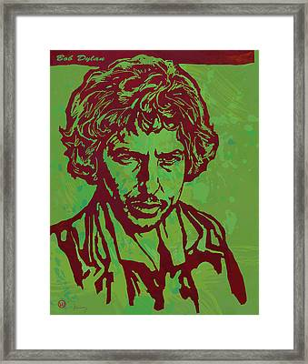 Bob Dylan Pop Art Poser Framed Print by Kim Wang