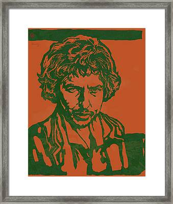 Bob Dylan Pop Stylised Art Sketch Poster Framed Print by Kim Wang