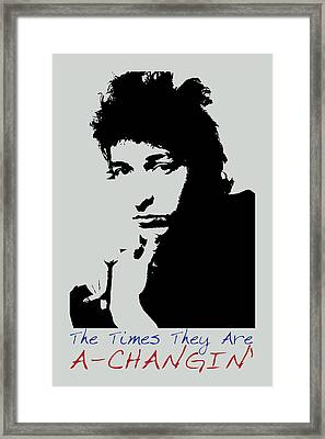 Bob Dylan Poster Print Quote - The Times They Are A Changin Framed Print