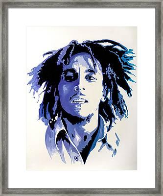Bob Marley - Blue Framed Print by Jocelyn Passeron