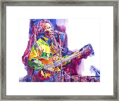 Bob Marley And Les Paul Gibson Framed Print by David Lloyd Glover