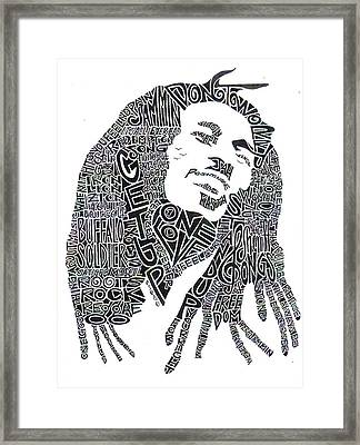 Bob Marley Black And White Word Portrait Framed Print