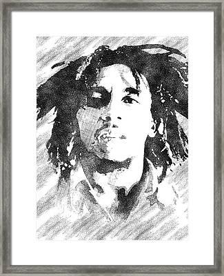 Bob Marley Bw Portrait Framed Print