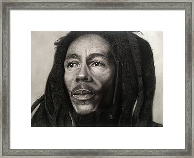 Bob Marley Drawing Framed Print by Angelee Borrero